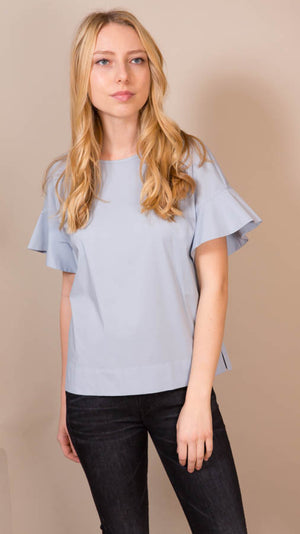 Blouse With Bell Sleeves - Light Blue