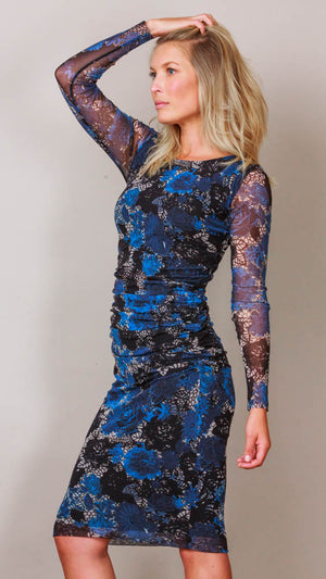Long Sleeve Floral Print Tulle Shirred Dress - Blue