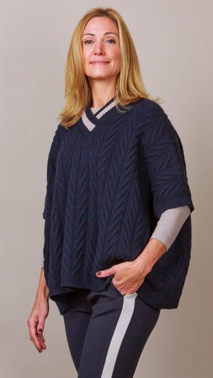 Peserico Cable Knit V-Neck Poncho - Navy/Beige Trim