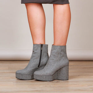 Gray Belent Houndstooth Booties