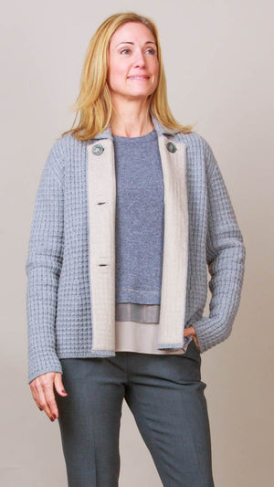 Heavy Knit Jacket - Light Grey/Beige
