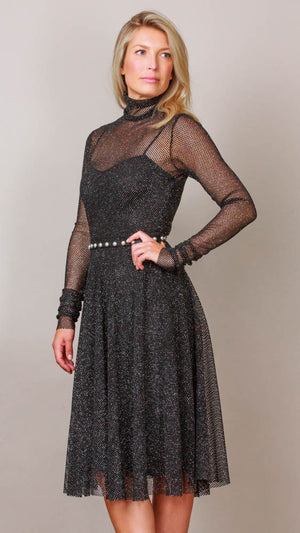 Metallic Mesh Midi Dress - Black