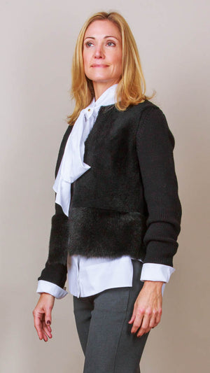 Black Shearling And Knit Jacket