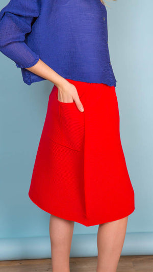 Issey Miyake A-Poc Pleats 2 A-line Skirt in Red