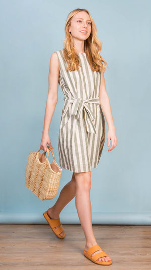 Eleventy Striped Self-Tie Cotton Mini Dress - Green Stripe