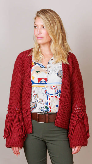 Fringe Cardigan Sweater - Wine