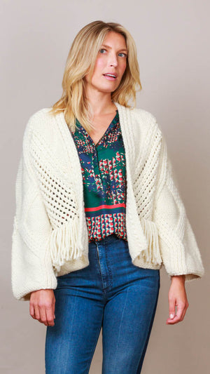 Fringe Cardigan Sweater - Ecru