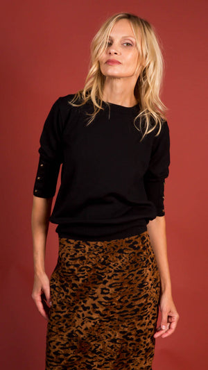 D. Exterior Crew Neck Sweater with Studs and 3/4 Sleeves - Black