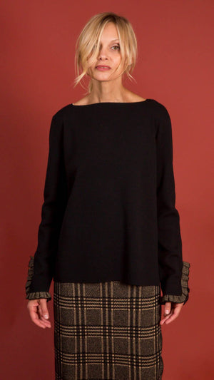 D. Exterior Crew Neck Sweater with Gold Detail on Sleeves - Black