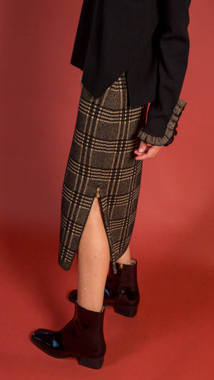 D. Exterior Tube Skirt with Side Zippers - Black and Gold Pattern