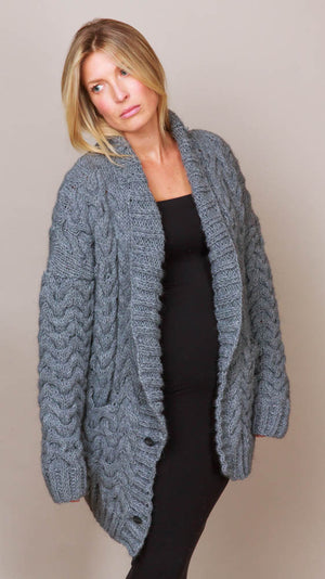 Stubborn Cardigan Sweater - Grey Melange