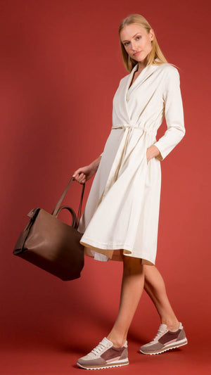 Black Crane Wrap Dress Coat in Cream