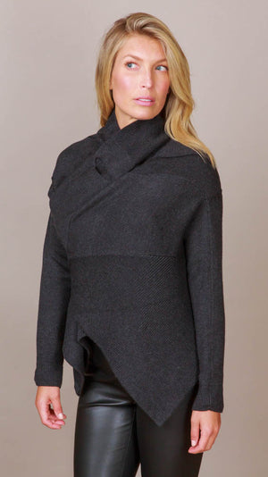 Front Drape Cardigan - Charcoal
