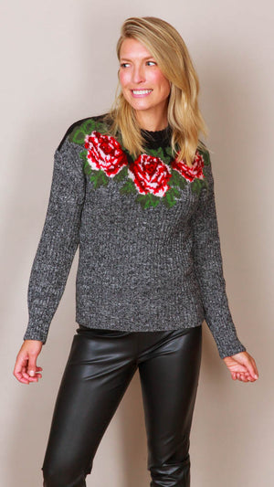 Philosophy Di Lorenzo Rose Intarsia Knit Sweater