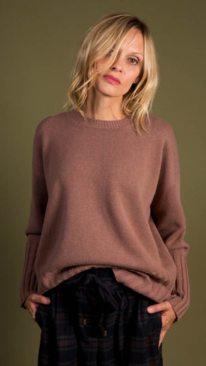 Peserico Crewneck Knit Sweater - Tan/Mauve