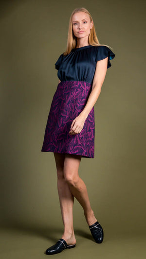 Tara Jarmon Romea Dress - Magenta and Navy