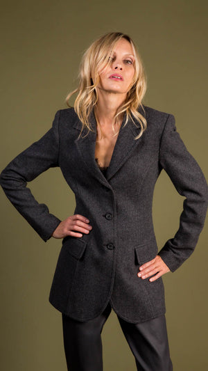 Smythe Three Button Blazer in Charcoal Herringbone