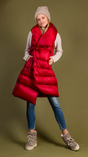 Psophia Long Wrap Down Vest - Red