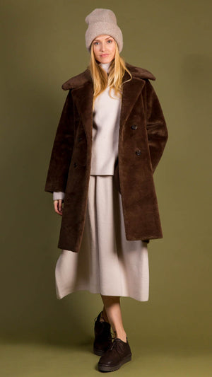 Amomento Shearling Long Coat - Brown