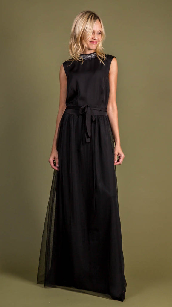 Peserico Satin and Tulle Dress in Black with Feather and Beading Detail