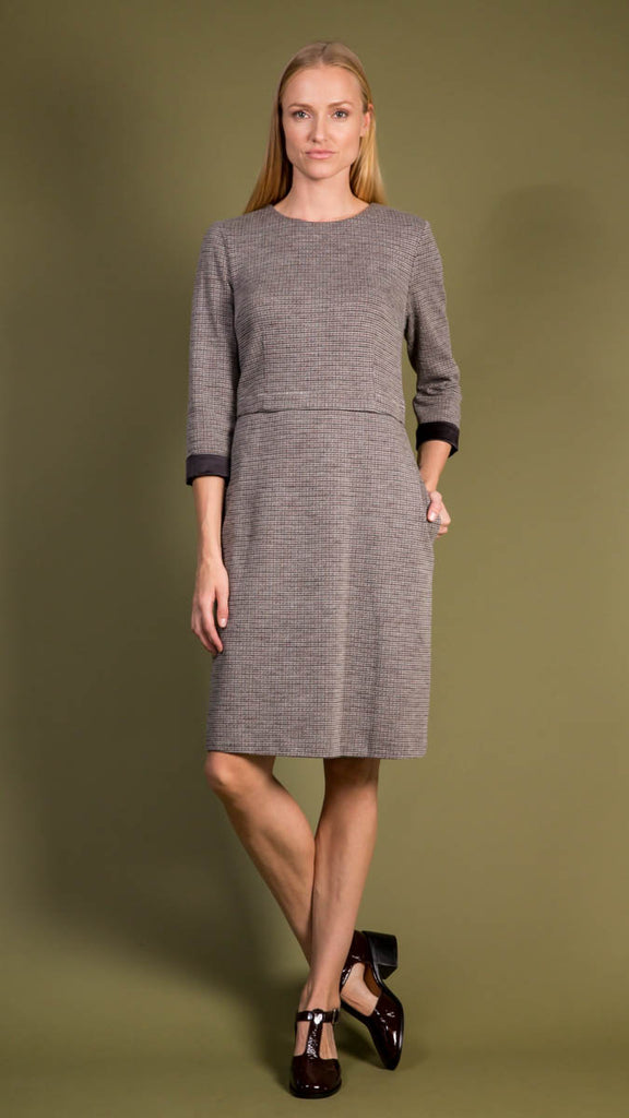 Peserico Fitted Dress with Cuff Sleeves and Houndstooth Print