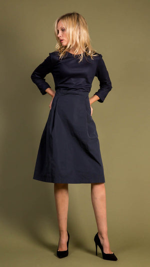 Peserico Wool Blend Paperbag Dress in Navy