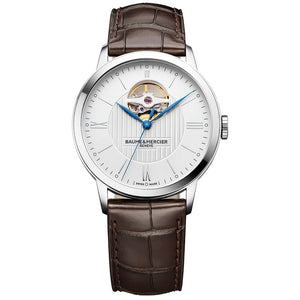 Classima Ex Silvered Guilloche Dial Dark Brown Alligator Strap M0A8688