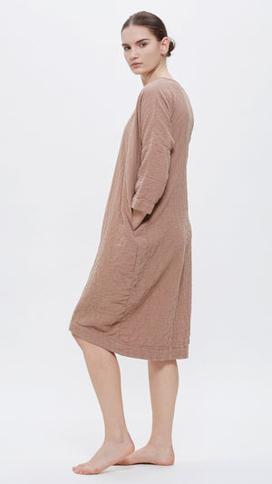 Black Crane Bud Dress - Camel