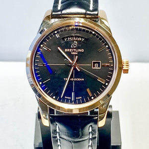 Breitling Transocean Day/Date 18K Rose Gold Black Leather Watch - R4531012/BB70
