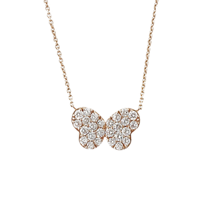 Signature 18K Rose Gold Butterfly Pendant Necklace With Diamonds