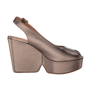 Clergerie Dylan Metallic Leather Platform Sandals - Steel Gold