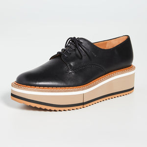 Clergerie Berlin3 Platform Leather Oxfords - Black Striped