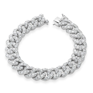 Signature 18K White Gold Cuban Link Tennis Bracelet With Diamonds