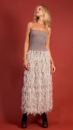 D. Exterior Long Sequin and Feather Dress in Resina