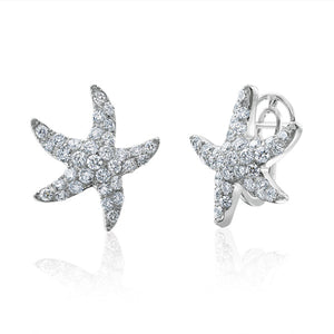 18K White Gold Starfish Earrings With Pave Set Diamonds