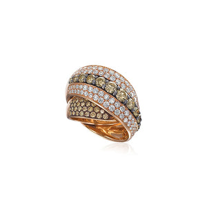 Signature 18k Rose Gold X-Style Ring With Diamonds
