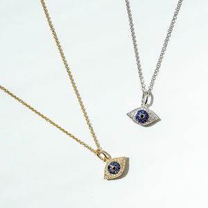 Diamond Dream Signature Collection 14k Gold Evil Eye Necklace with Diamonds and Sapphires