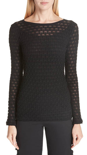 Fuzzi Open-Pattern Long Sleeve Top - Black