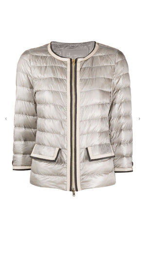 Herno Classic Grosgrain Trim Down Jacket - Shiny Taupe