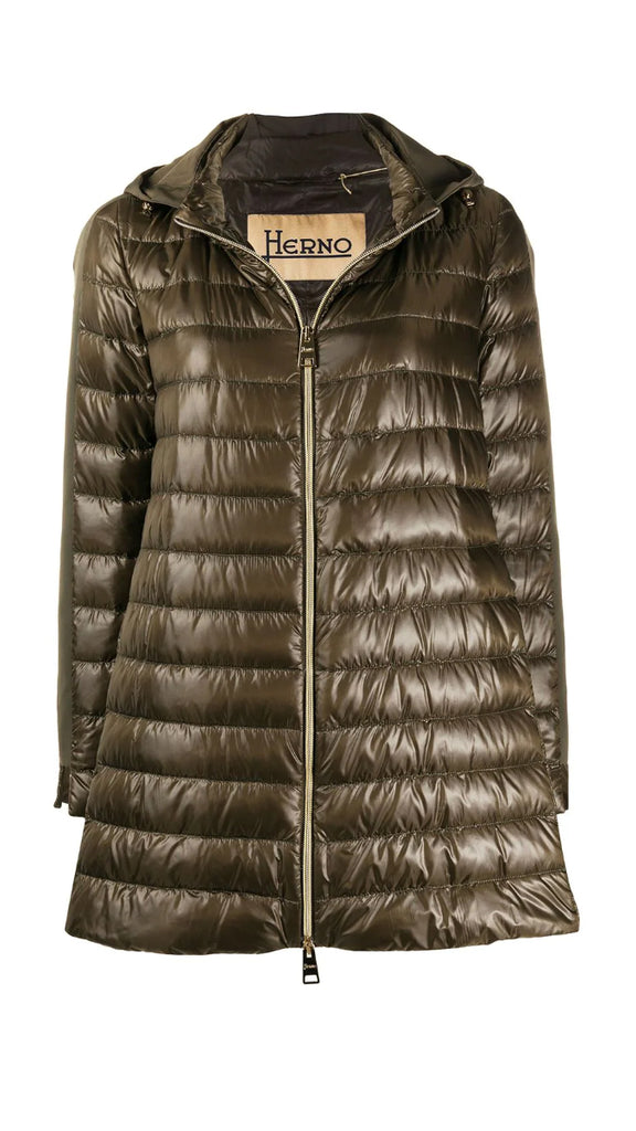 Herno A-Line Down Jacket With Hood - Olive Green