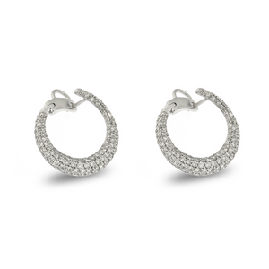Signature 18K White Gold C-Shape Earrings With Diamonds