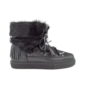 Fringe Rabbit Sneakers - Black