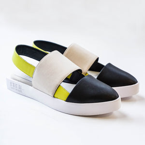 Issey Miyake 132.5 Sling Back Sandals - Black/Taupe/Yellow