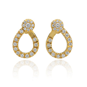 Diamond Dream Signature Collection C Hoop Diamond Earrings in 18k Yellow Gold