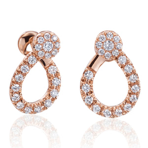 Diamond Dream Signature Collection J Hoop Diamond Earrings in 18k Rose Gold