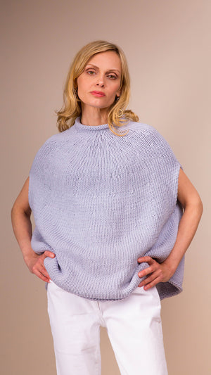 Lauren Manoogian Handknit Yoke Poncho - Spa Blue