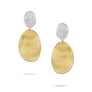 Marco Bicego Lunaria Collection Diamond Pave Medium Double Drop Earrings in 18K Yellow Gold