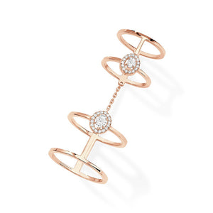 Messika Glam'Azone Double Ring With Diamonds in 18K Rose Gold