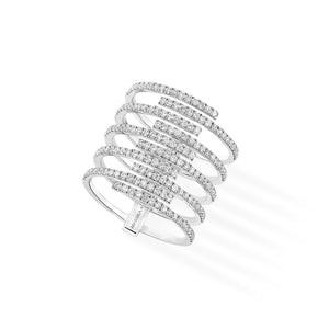 Messika Gatsby 10 Rows Ring With Diamonds in 18K White Gold