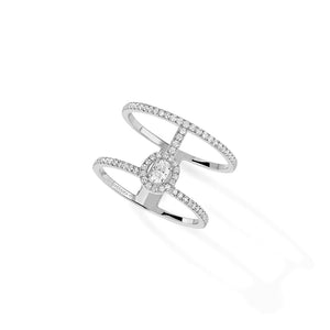 Messika Glam'Azone 2 Rows Diamond Pave Ring in 18k White Gold